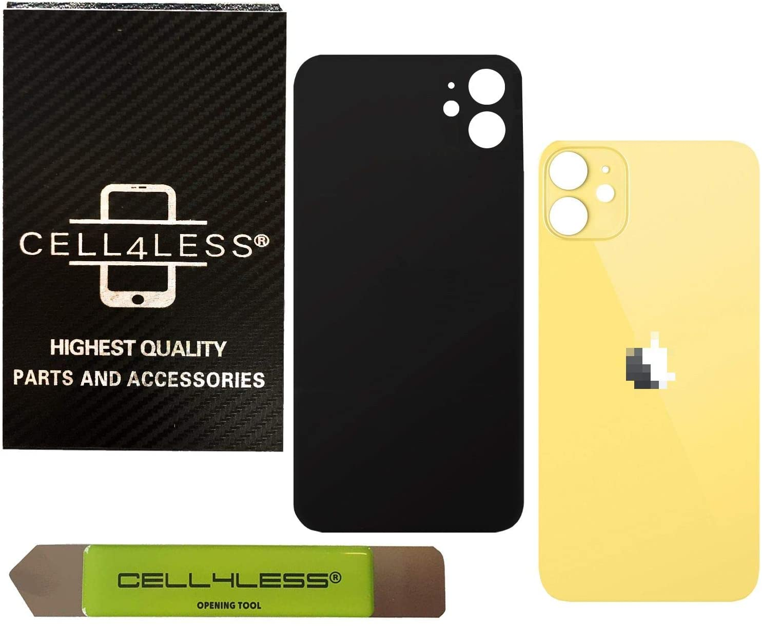 Cell4less Back Glass Replacement Kit for The iPhone 11 ~ Rear Back Glass w/Removal Tool (Yellow)