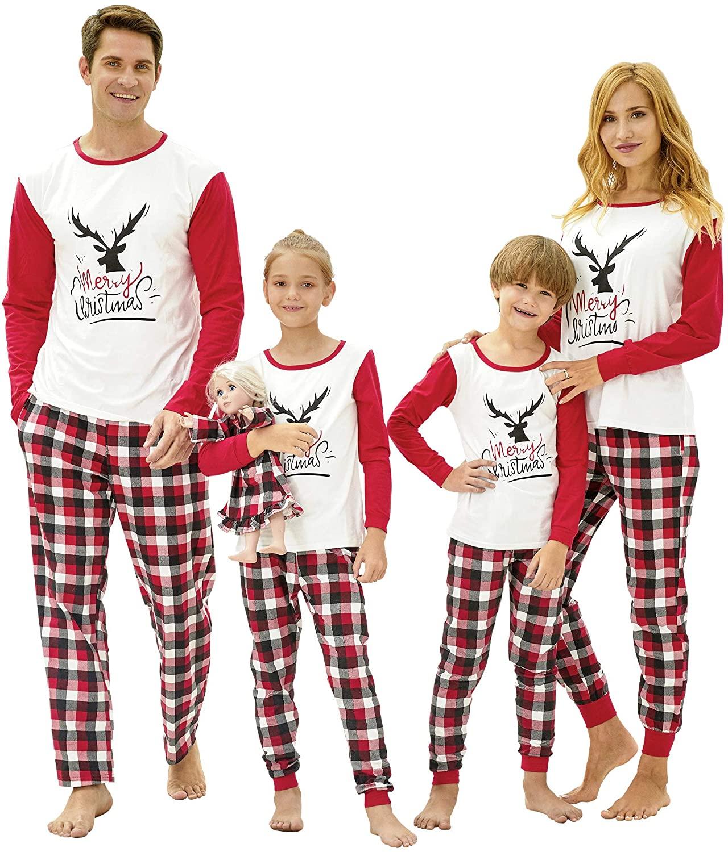 Family Christmas Pajamas PJS Matching Set Adult Kids Baby Pet Dog & Doll Cotton