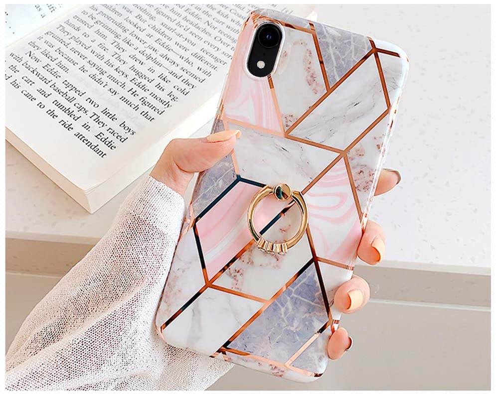 Case for iPhone XR Marble Case,Girls Women Polished Plating Mosaic Marble Designed Flexible Soft Rubber Gel TPU Case Cover & Bling Glitter Diamond Ring Stand for iPhone XR Silicone Case,Pink