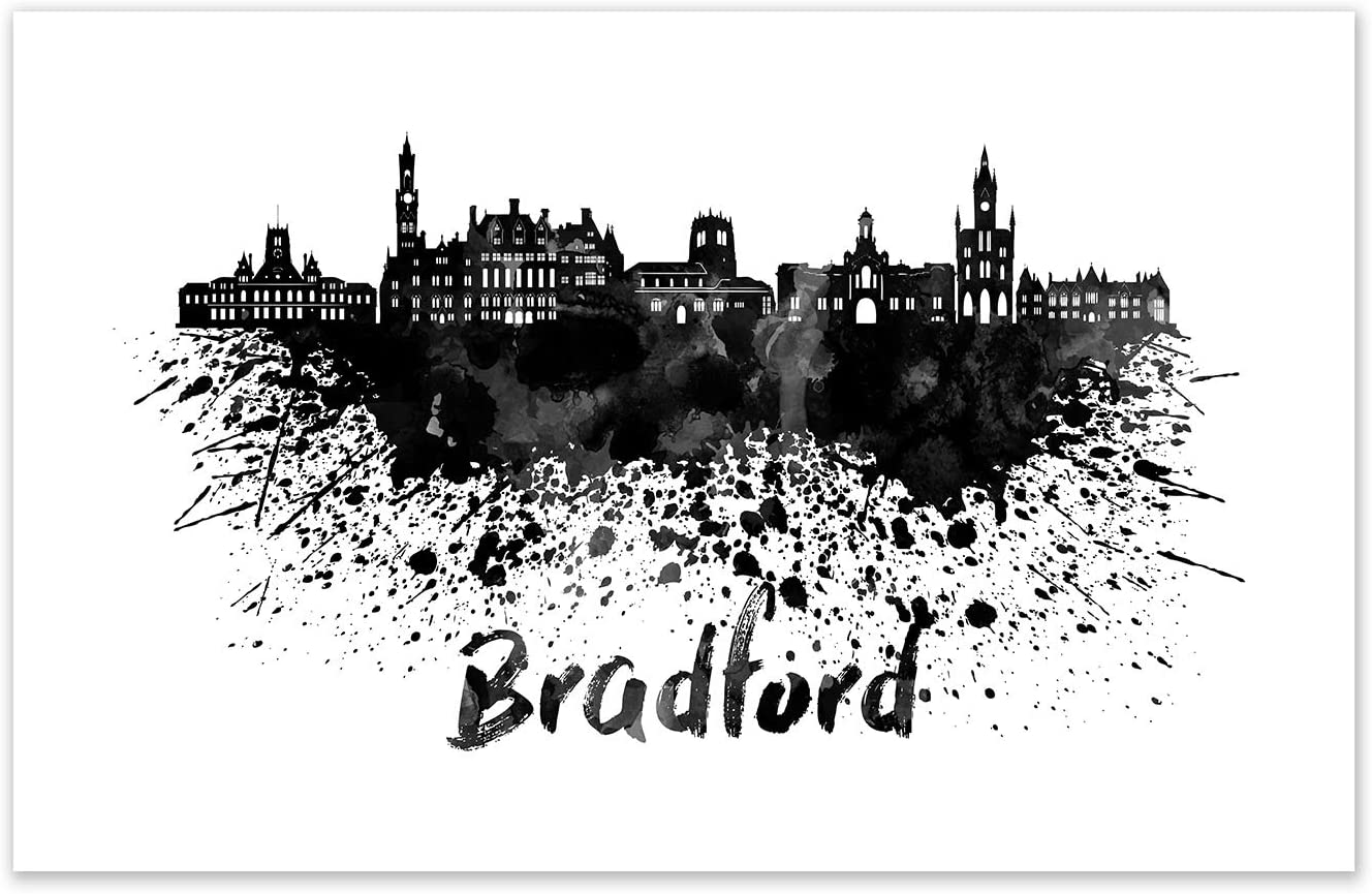 ArtsyCanvas Black Ink Splatter Art of Bradford's Skyline Printed on Poster Paper. Wall Décor for Your Living Room, Office, Den, Bedroom, etc. from Tube to Wall in Minutes.