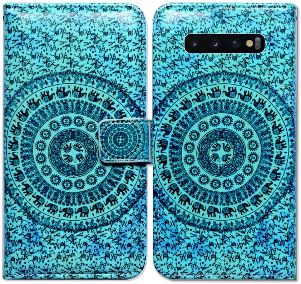 Galaxy S10 Plus Case,Bcov Elephant Mandala Card Slot Wallet Leather Cover Case for Samsung Galaxy S10 Plus/S10+