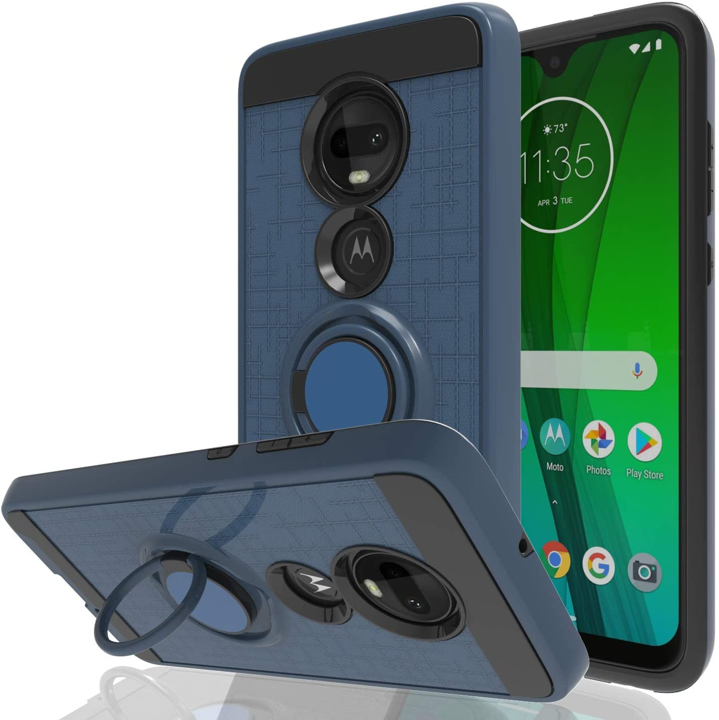 Wtiaw for: Moto G7 Case,Moto G7 Plus Case,Motorola Moto G7 Case,360 Degree Rotating Ring Kickstand [TPU+PC Material] Hybrid Dual Layer Defender Case for Moto G7-CH Metal Slate