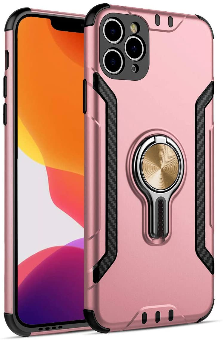 BOYILUO Case for iPhone 11 Pro Max Case Military Grade Drop Tested Tough Dual Layer 2 in 1 Protective Case Heavy Duty Shockproof with 360 Degree Rotating Metal Ring Holder Kickstand Rose Gold