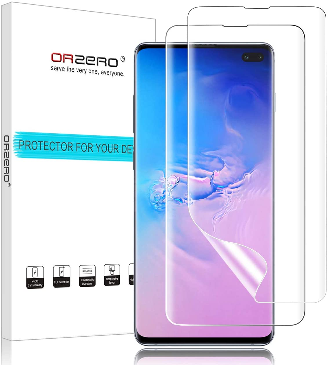(2 Pack) Orzero Compatible for Samsung Galaxy S10 Plus, S10+ 2019 HD (Premium Quality) (No Affect On Fingerprint Scanner) (Full Coverage) Screen Protector, Bubble-Free (Lifetime Replacement)
