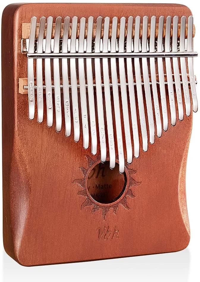 XINQIDIAN Kalimba 21 Keys Thumb Piano, Single Solid Wood Board Kalimba Thumb Piano Marimba with Learning Instruction and High Performance Carrying Case
