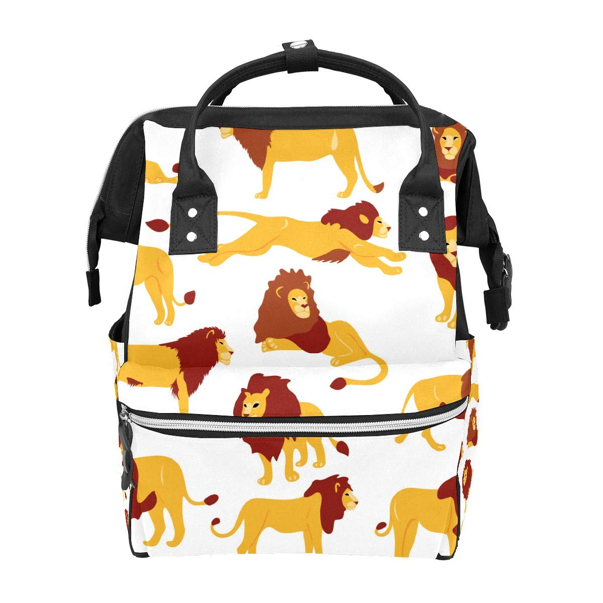 Diaper Bag Backpack Hand Drawn Flat Lions Set Multifunction Travel Back Pack Baby Changing Bags Large Capacity Waterproof Stylish