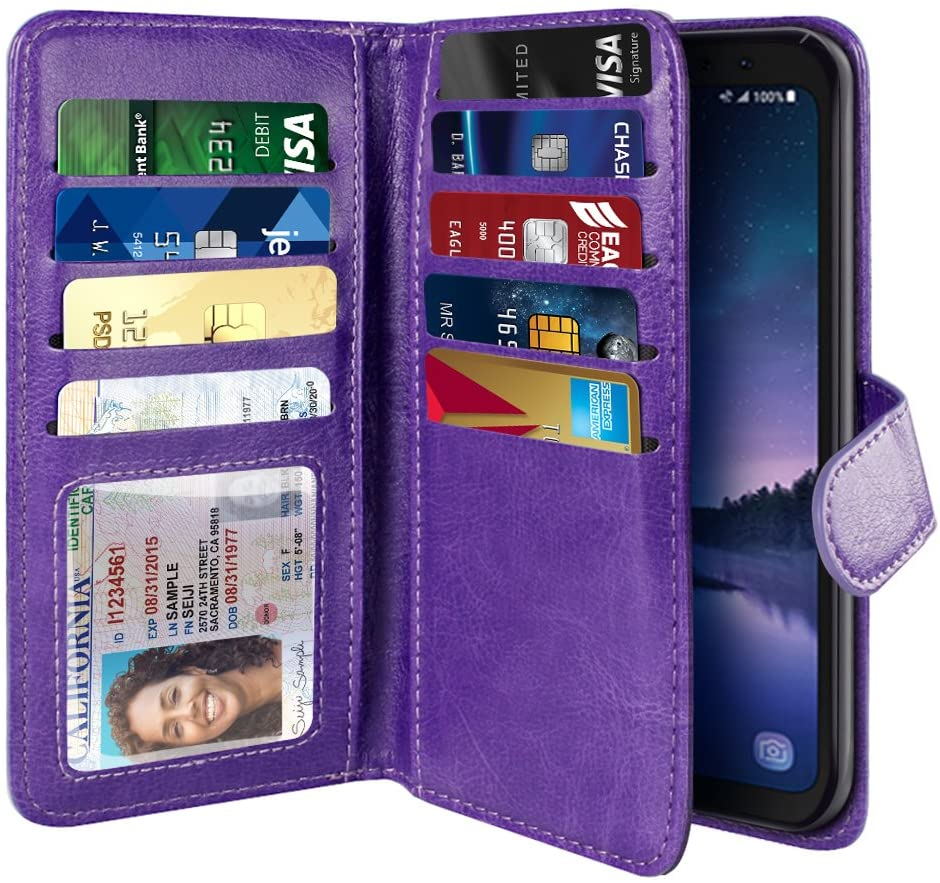 NEXTKIN Case Compatible with Samsung Galaxy S8 Active G892A, Dual Wallet Folio TPU Cover Large Pockets Double Flap, Multi Card Slots Button Strap for Galaxy S8 Active (NOT FIT S8/ S8 Plus) - Purple