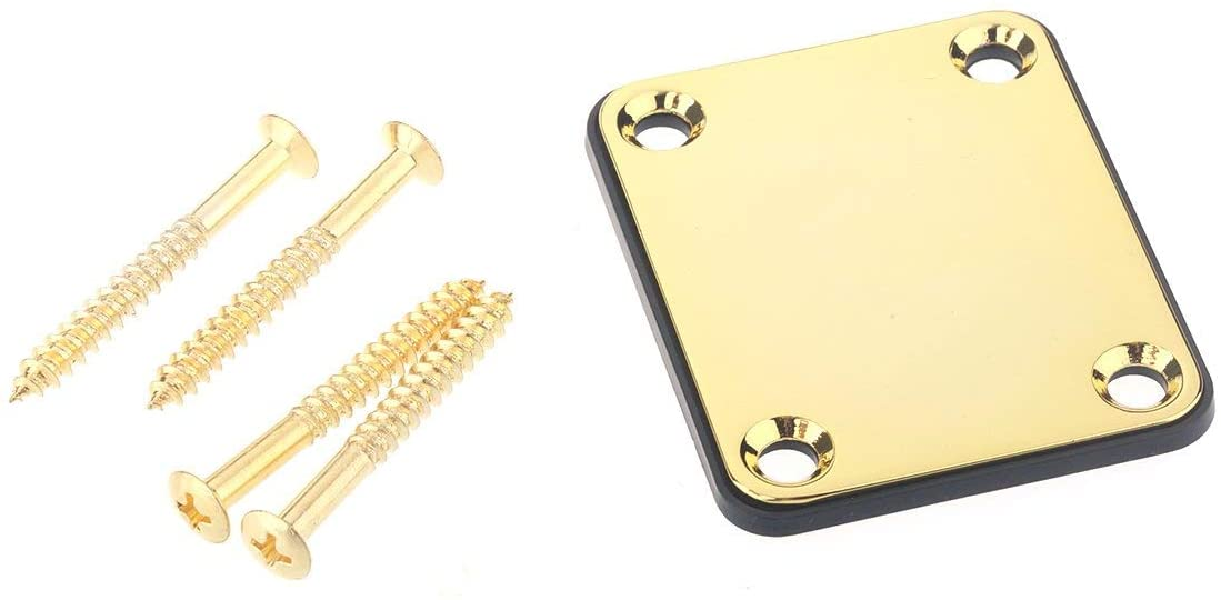Musiclily Metal Neck Mounting Plate for Fender Guitar or Bass,Gold