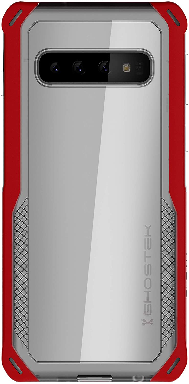 Ghostek Cloak Clear Grip Galaxy S10 Case with Super Slim Fit Shock Absorbing Bumper Durable Heavy Duty Protection and Wireless Charging Compatible Cover for 2019 Samsung Galaxy S10 (6.1 Inch) - (Red)