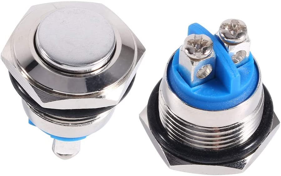 Dibabio 16mm Switch Push Buttons Momentary Start Switch Car Waterproof Metal Electrical Switched