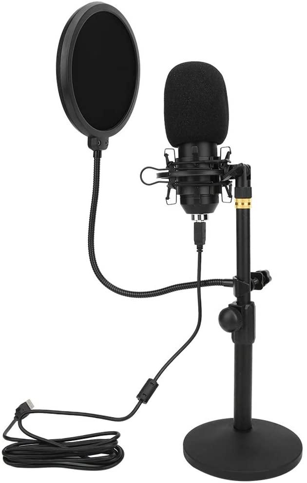 M ugast USB Condenser Microphone,Alloy Cardioid HI-FI Studio Recording Sound MIC,Vocal Microphone with Wind Muff,Bracket,for Live Broadcast,Karaoke,Computer