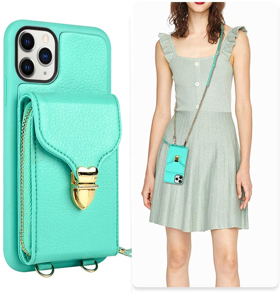 iPhone 11 Pro Max Wallet case, JLFCH iPhone 11 Pro Max Crossbody Case with Zipper Card Slot Holder Wrist Strap Shoulder Chain Leathe Handbag Purse for Apple iPhone 11 Pro Max 6.5 inch 2019 - Mint Blue