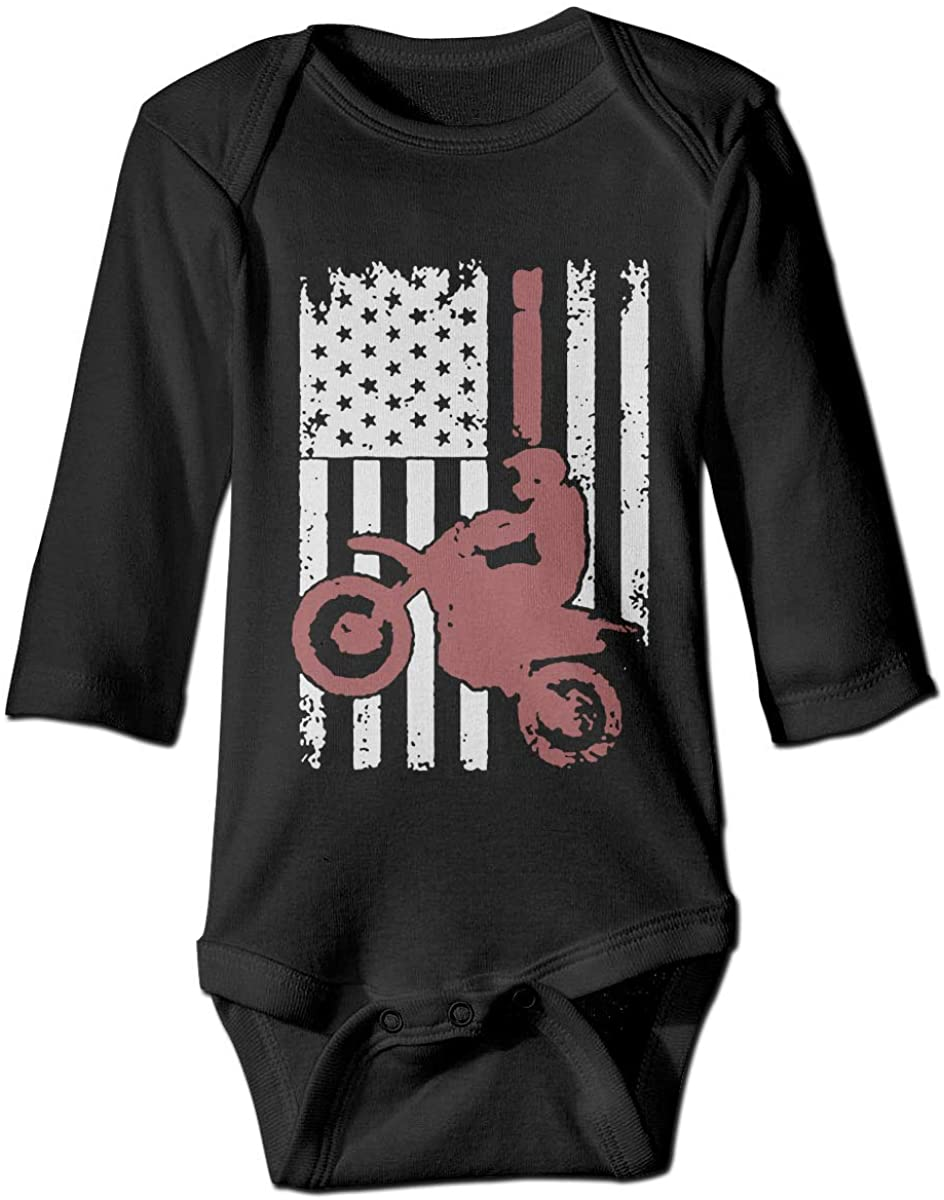 LittleHorn Dirtbike Motocross Flag Pattern Baby Onesie Boy Girl Long Sleeve Playsuit Outfit