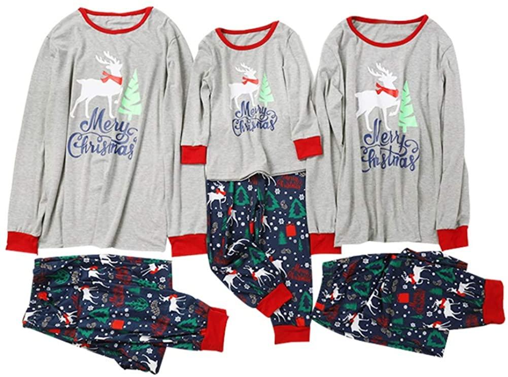 Blaward Family Matching Christmas Pajamas Set Deer Print Tops and Red Striped Pants Sleepwear for Family