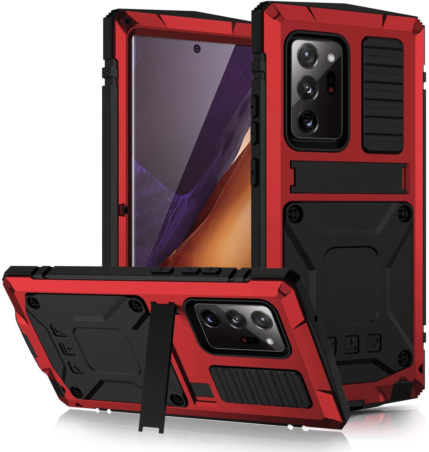 for Samsung Galaxy Note 20 Ultra Metal Case, Military Grade Drop Tested Heavy Duty Full Body Protective with Screen Protector Built-in Shockproof Dustproof Case(Note 20 Ultra Red)