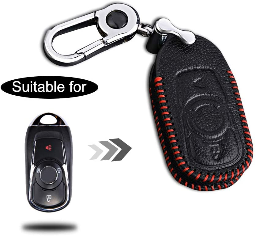 Optional Leather Car Key Fob Case Protector for Buick 3 Buttons Keyless Entry Remote Smart Key Handmade Accessories Red Line 1PC Type I