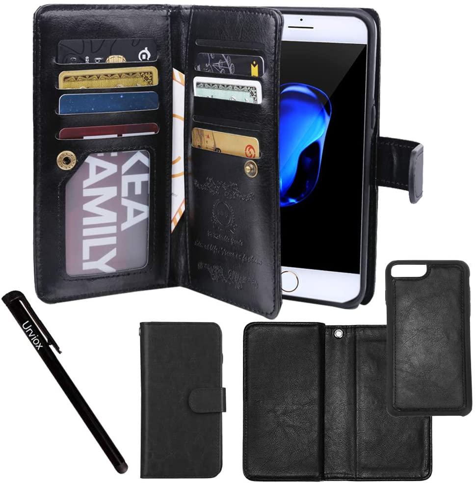 Urvoix for iPhone SE(2020)/SE2 Case, iPhone 8 Case, iPhone 7 Case, iPhone 6S Case(4.7'' Display), Wallet Leather Flip Card Holder Case, 2 in 1 Detachable Magnetic Back Cover, Black