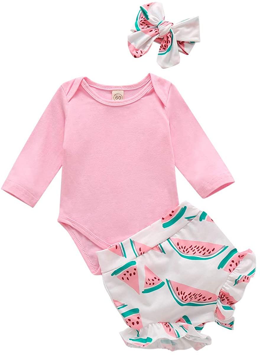 3Pcs Newborn Infant Baby Girl Clothes Long Sleeve Romper Bodysuit Tops Watermelon Shorts Bloomers +Headband