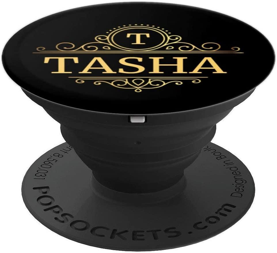 Tasha Gift Black Women Swirl Monogram Name Tasha PopSockets Grip and Stand for Phones and Tablets
