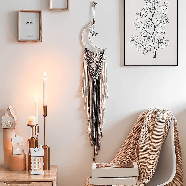 Enmolove Macrame Wall Hanging Moon Dream Catcher Bohemian Home Decor Tassel Wall Hangings Beige & Grey Moon