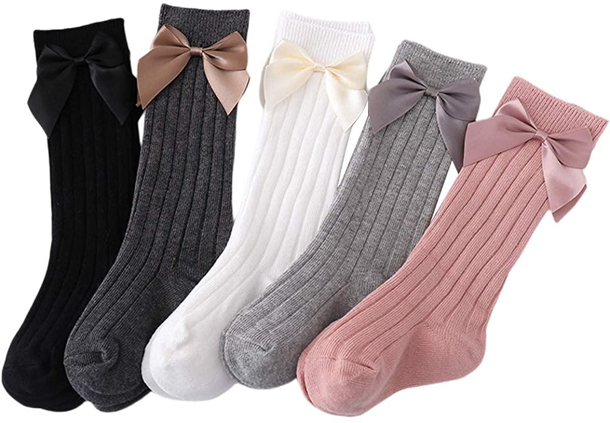 Baby Girl Knee High Socks Winter Warm Rib Knitted Stockings Newborn Toddlers Bow Knit Tube Ruffle Uniform Stockings