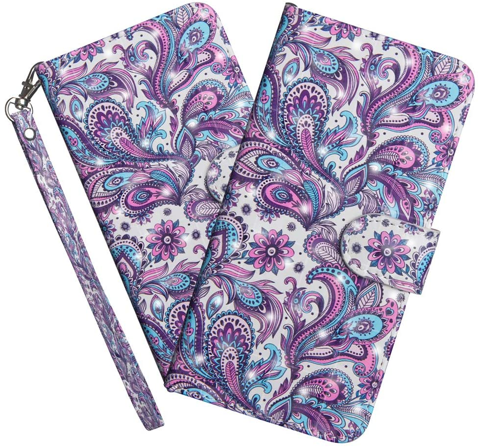 HMTECHUS Moto E6 Plus Case PU Leather 3D Effect Whirlpool Flower Magnetic Clasp Shockproof Durable Card Slots Holder Protective Flip Cover for Motorola Moto E6 Plus Whirlpool Flower YX