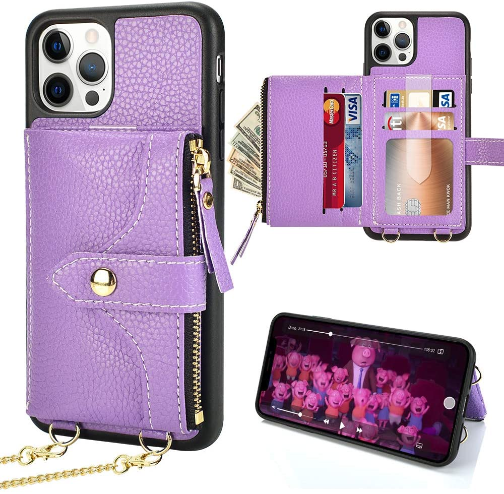 Wallet Case for iPhone 12 Pro Max, LAMEEKU Crossbody Wallet Case for Women Card Holder Case with Strap Zipper Purse Bumper Case Compatible with iPhone 12 Pro Max 6.7''Lavender