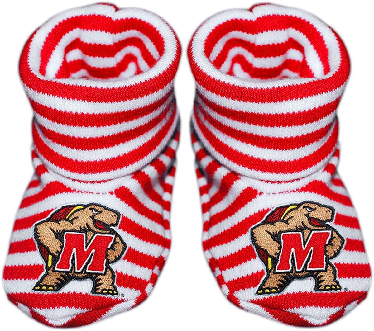 University of Maryland Newborn Baby Striped Bootie Sock