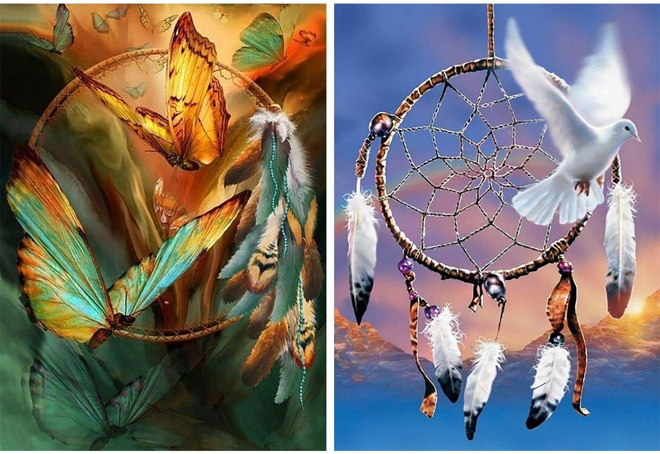 Zariocy 2 Pack Diamond Painting Dream Catcher by Number Kits, Butterfly Feather White Dove Mountain DIY Paint with Diamond Rhinestone Embroidery Home Wall Decor 30x40cm/12x16 inch