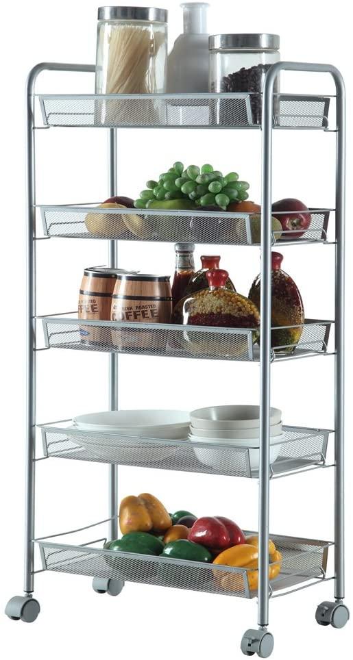 Tenozek 5-Tier Rolling Basket Stand Storage Cart w/Shelves & Wheels Full Metal Rolling Trolley for Kitchen(Silver, 5 Layers)