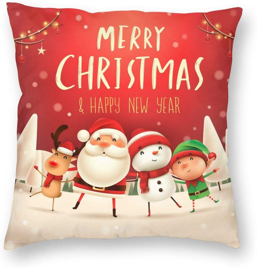 niBBuns Throw Pillow Cushion Cover, Christmas Santa Claus Snowman Reindeer StarDecorative Square Accent Pillow Case,18x18inch