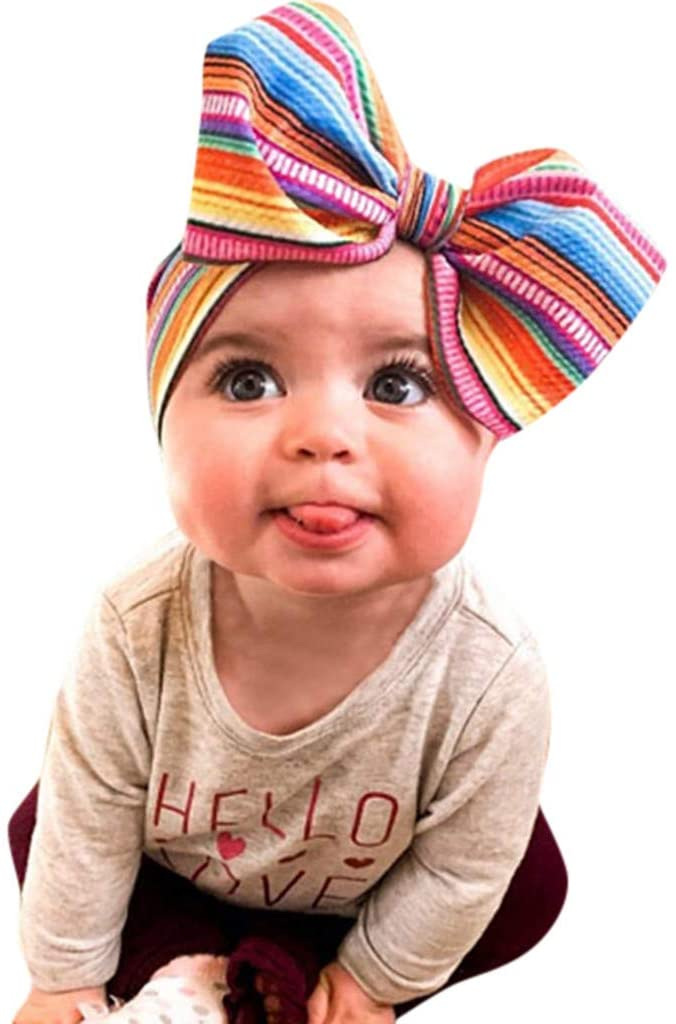 Ywoow Children's Big Bow Print Headband Baby Baby Headband Baby Cute Unisex Hair Ball Multicolor Headband Elastic Big Bow Design