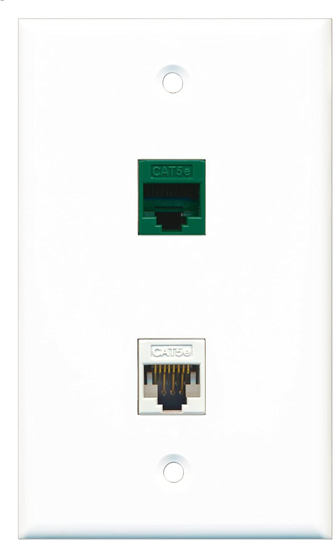 RiteAV - 1 Port Cat5e Ethernet White 1 Port Cat5e Ethernet Green Wall Plate - Bracket Included
