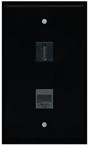 RiteAV - Black 1 Port HDMI 1 Port Phone Black Wall Plate
