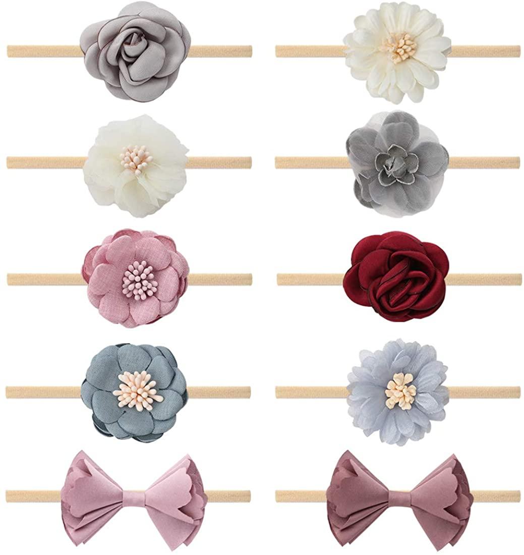 Subesty Baby Girls Nylon Headband Boutique Hair Bow Elastic Band for Toddler Infant Newborn Set of 10
