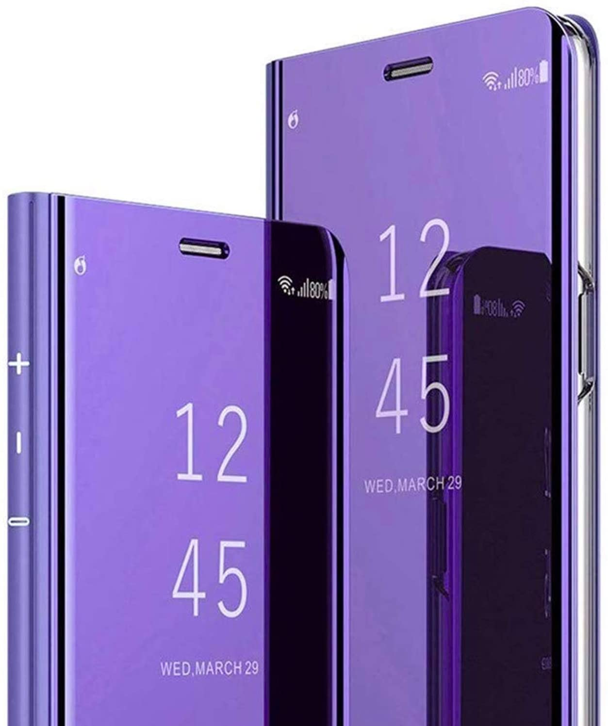 LG V60 Phone Case,SZYZ Smart Mirror Vertical Flip-Free Cover Case with Kickstand Function and Shockproof All-Inclusive Protection Shell for LG V60,QH Purple Blue