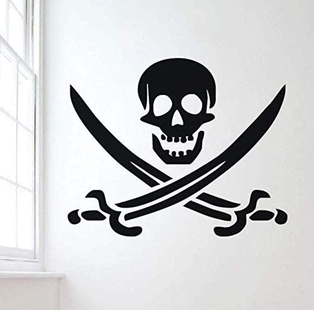 dferh Wall Sticker Pirate Symbol Vinyl Wall Stickers for Kids Rooms Removable Skull Decals Self Adhesive Wallpaper Wall Art Mural Design Home Decor71X58Cm