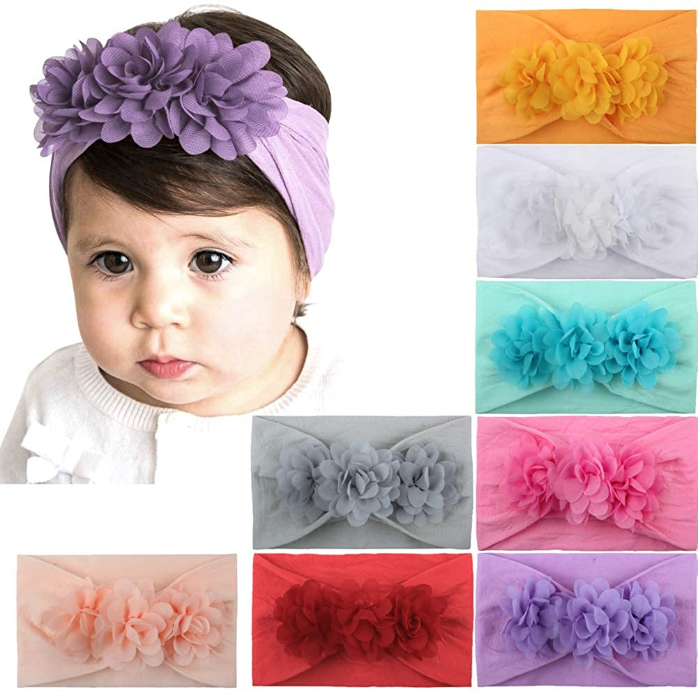 Turban headband for baby girls with Knot Bow Head Wrap Hairbands Soft Infant Newborn Toddlers Flower Hair Accessories