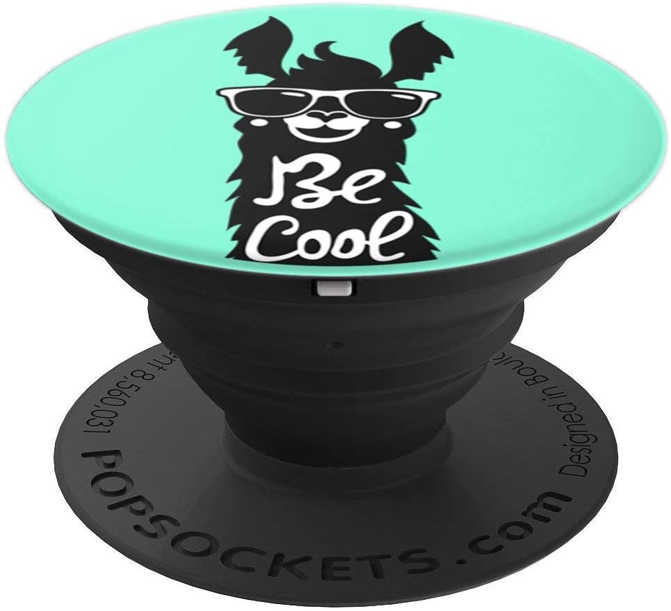Trendy Be Cool Mint & Black Llama with Sun Glasses PACJ0489 PopSockets Grip and Stand for Phones and Tablets