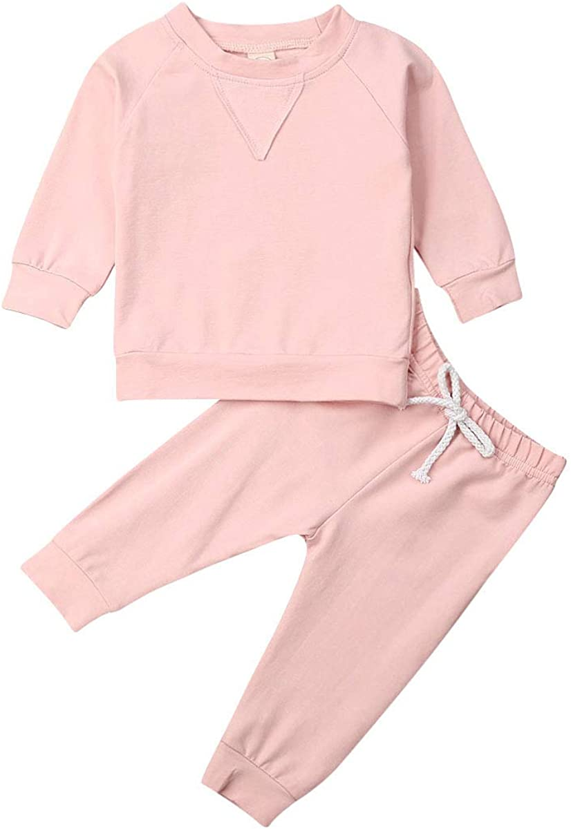 2Pcs Toddler Kids Baby Boy Girl Casual Clothes T-Shirt Tops+Long Pants Outfits Clothes Set