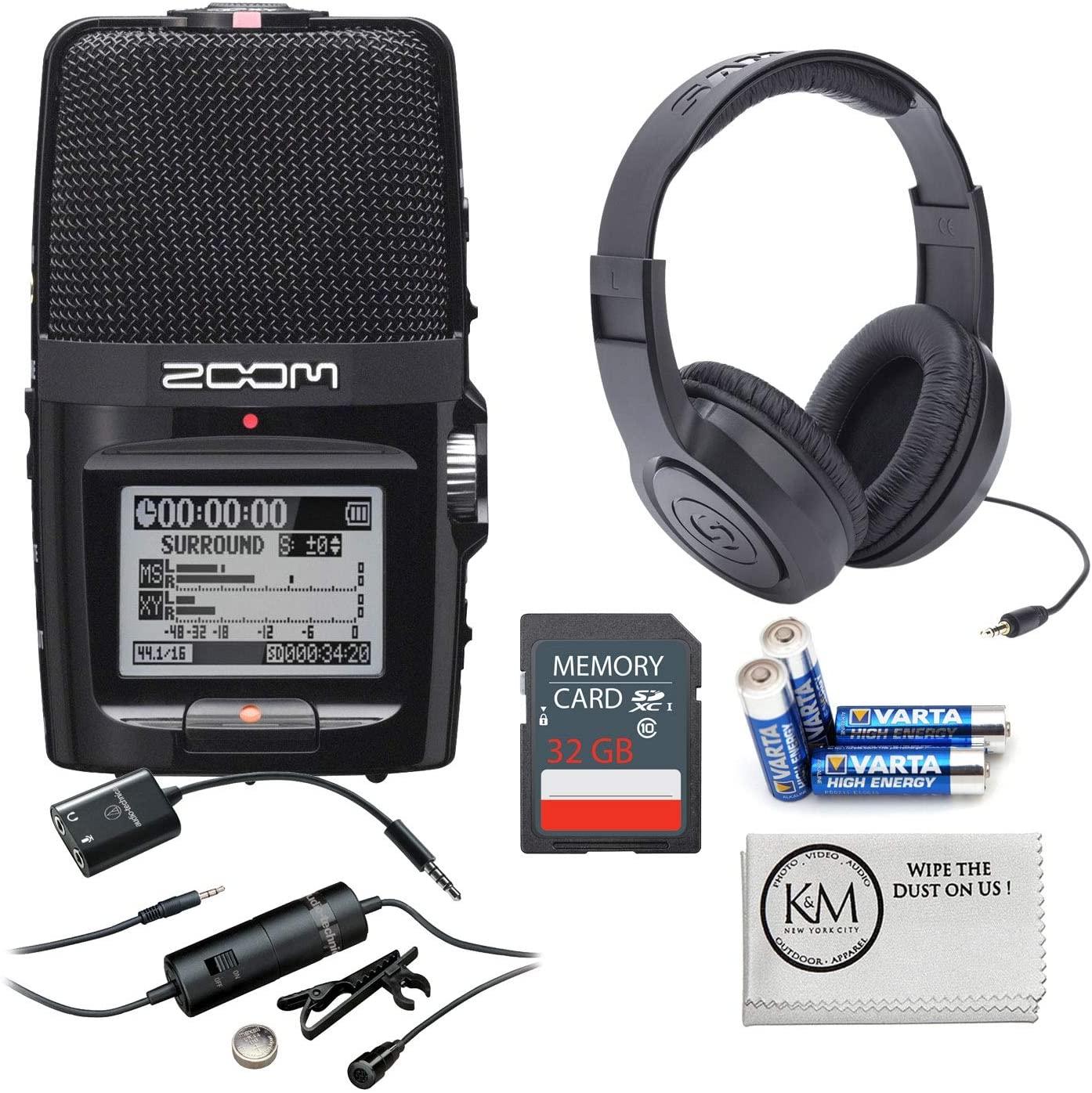 Zoom H2n Digital Recorder + 32GB SD Card + Headphones + Lavalier Microphone + K&M Micro Cloth