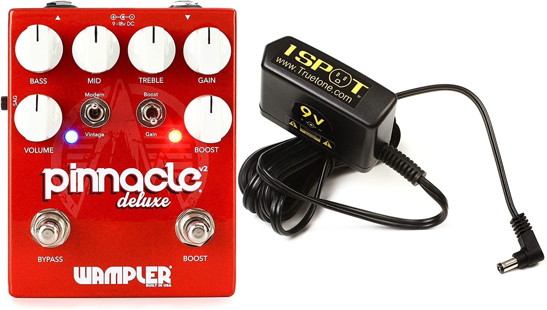 Wampler Pinnacle Deluxe V2 Overdrive Pedal + Truetone 1 SPOT Slim 9V DC Adapter Value Bundle
