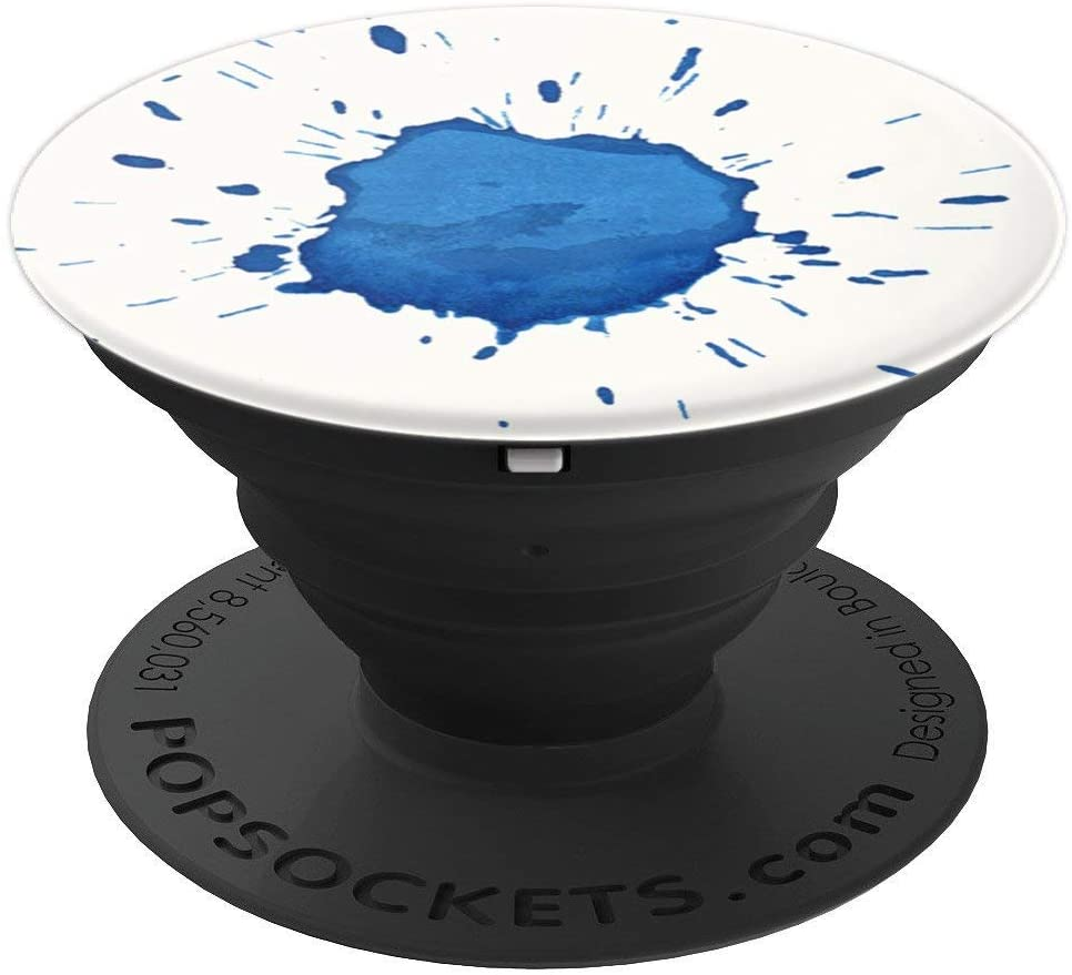 Blue Watercolor Ink Splash Pop Mount Socket Wet Paper Design PopSockets Grip and Stand for Phones and Tablets