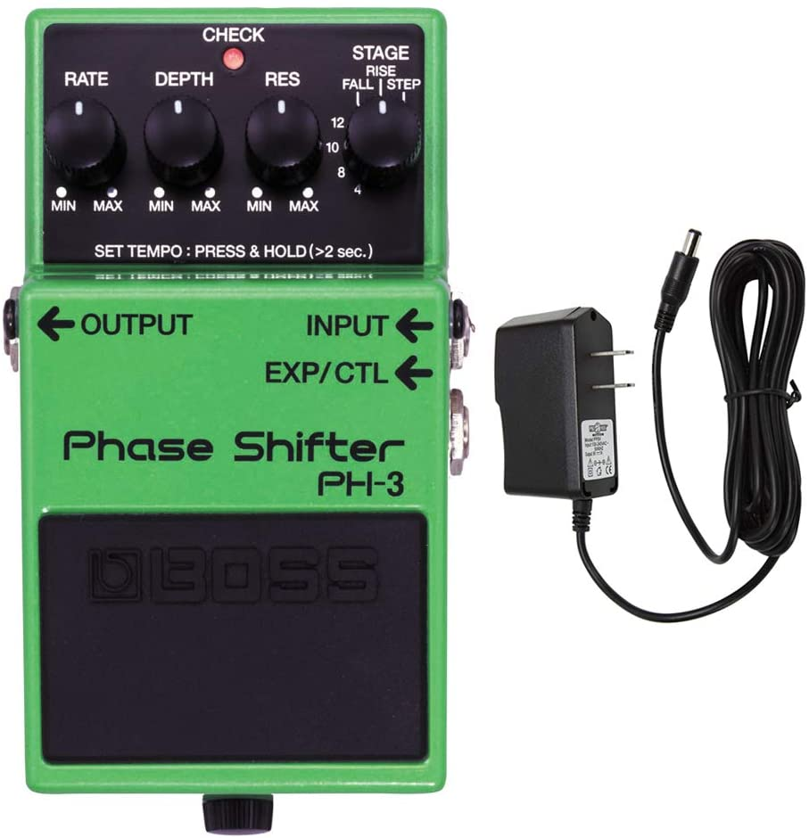Boss PH-3 Phase Shifter Pedal with PigHog PP9V Pig Power 9V DC 1000ma Power Supply