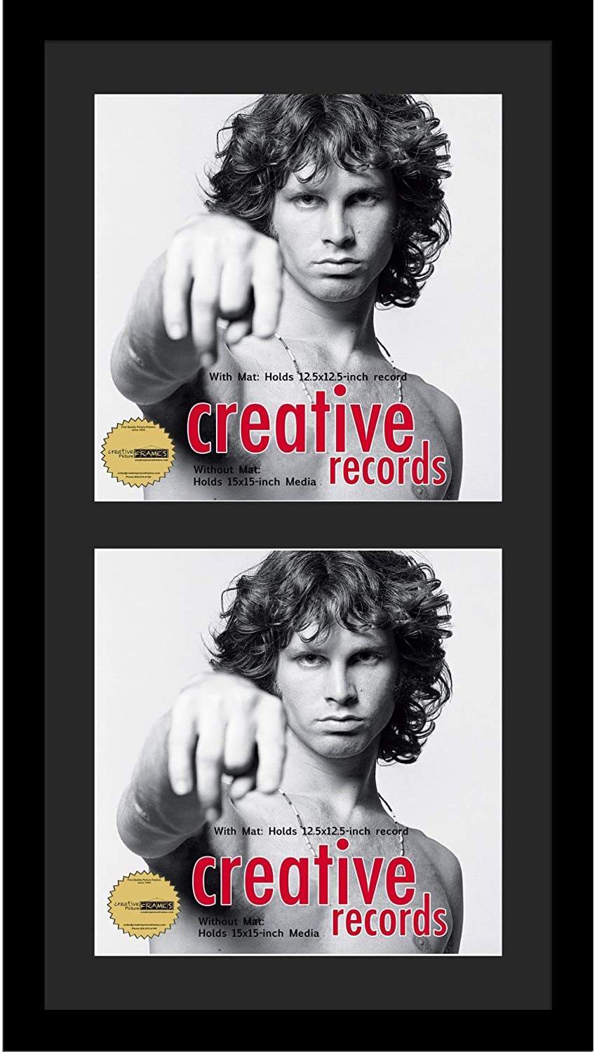 Creative Picture Frames 16x30-inch Double Record Album Cover Frame with Black Matting Displays 2 Individual LP Covers (Pack of 4)