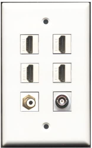 RiteAV - 4 Port HDMI 1 RCA White 1 BNC Wall Plate