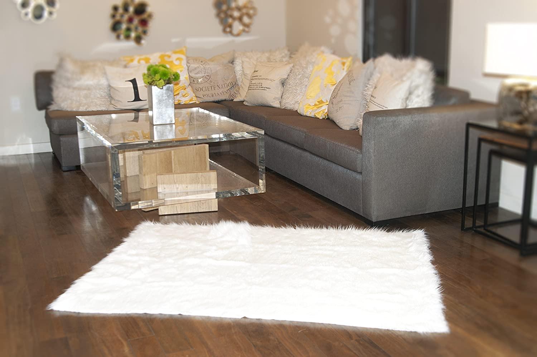 luvfabrics 8' X 10' New Premium White Shag Faux Fur Area Rug Room Decor Home Accents Shaggy Contemporary Modern Shag Carpet Throw Rug