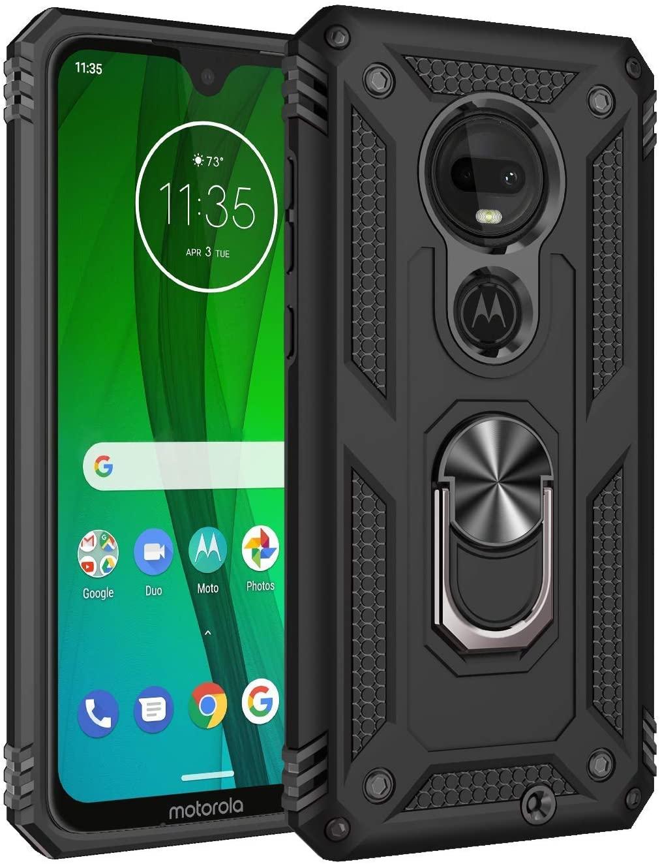 Siwny Moto G7 Case,Moto G7 Plus case, Military Grade Drop Protection Defender Kickstand Case for Motorola G7 2019 (Black)