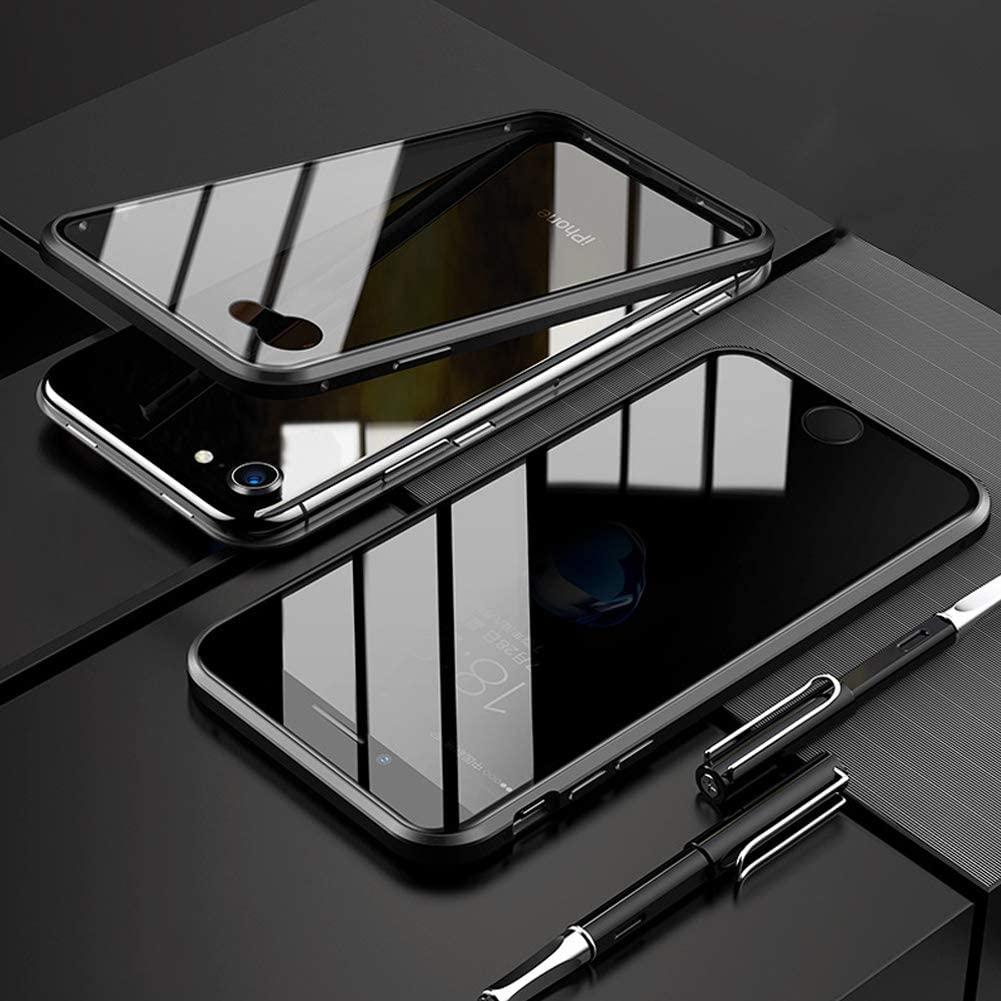 KumWum Anti-Peep Case for iPhone SE2 / iPhone 8 / iPhone 7 Aluminum Bumper Magnetic Adsorption Tempered Glass Full Body Protection - Black