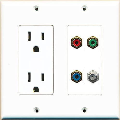 RiteAV Power Outlet Coax RCA Red RCA Blue RCA Yellow Wall Plate White